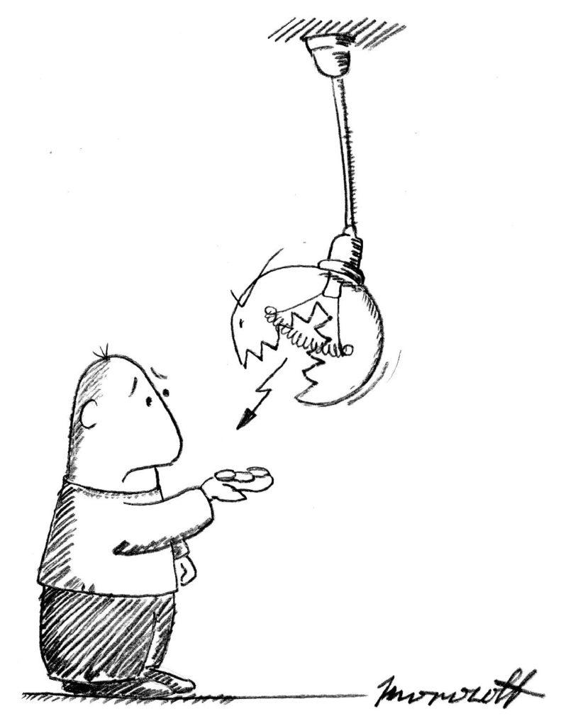 карикатура на повышение стоимости электроэнергии